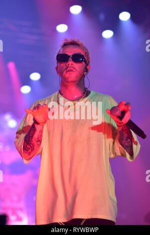 Napoli, Italy. 14th Mar, 2019. The Italian rapper Maurizio Pisciottu aka Salmo performing live on stage for his 'Playlist' tour concert in Napoli at the Palapartenope in front a sold out venue. Credit: Paola Visone/Pacific Press/Alamy Live News - Stock Photo