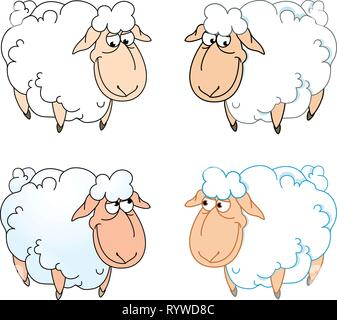 The illustration shows a few funny cartoon sheep isolated on a white background, on separate layers. - Stock Photo