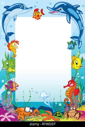 The illustration shows the frame against the background of various sea creatures. Illustration made on separate layers in a cartoon style. - Stock Photo