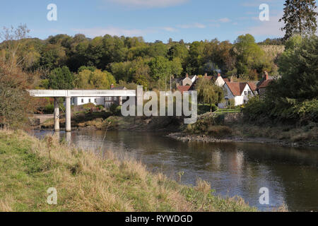 Early Autumn on the River Wye, the border between England and Wales - Stock Photo