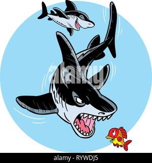 The illustration shows two ferocious sharks in the water. They hunt for small fish. Illustration done in cartoon style on separate layers. - Stock Photo