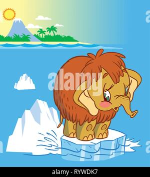 The illustration shows the baby mammoth. It stands on an ice floe in the middle of the ocean. Illustration done in cartoon style - Stock Photo