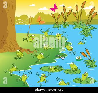 The illustration shows a pond with frogs on a sunny summer day. Picture made in cartoon style - Stock Photo