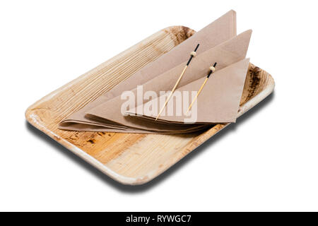 Wooden disposable container with napkins on the white background. - Stock Photo