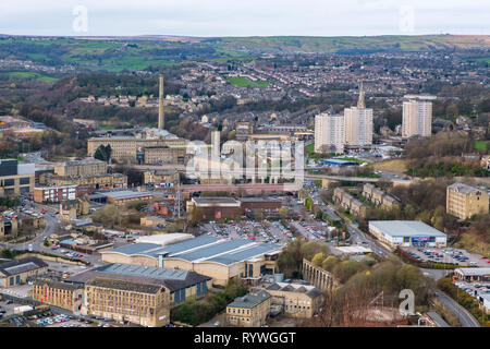 Halifax and Dean Clough Mills,  viewed from Beacon Hill, Calderdale, West Yorkshire, - Stock Photo