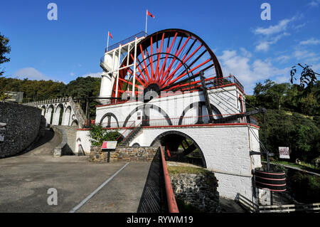 The famous Laxey Wheel is a visitorÕs attraction and the world's greatest industrial water wheel. It is known fondly as 'lady Isablla'.  It was built  - Stock Photo
