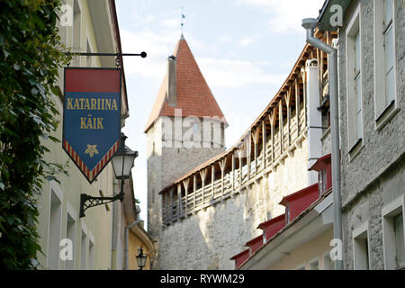 Medieval city wall and entrance to the St. Catherine's Passage, Tallinn, Estonia - Stock Photo