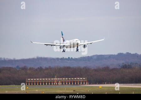Dusseldorf International Airport, DUS, Eurowings Airbus approaching, - Stock Photo