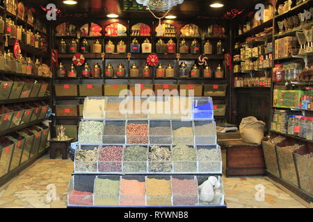 Shop carrying various spices, teas, and other assorted bric a brac in a Nubian Village near Aswan, Upper Egypt, North Africa - Stock Photo