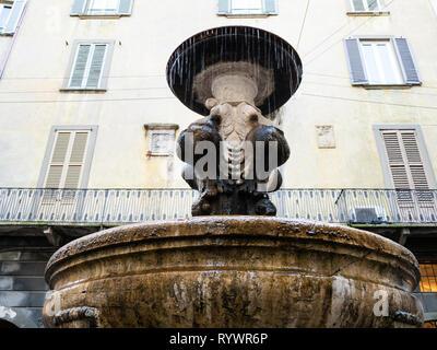 Travel to Italy - water fountain Del Gombito (Fontana di San Pancrazio)on street via Gombito in Citta Alta (Upper Town) of Bergamo city, Lombardy - Stock Photo