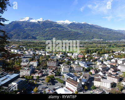 The beautiful town where the Vaduz Castle in Lichtenstein located - Stock Photo