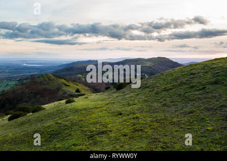 southern part of the malvern hills with herefordshire beacon - Stock Photo