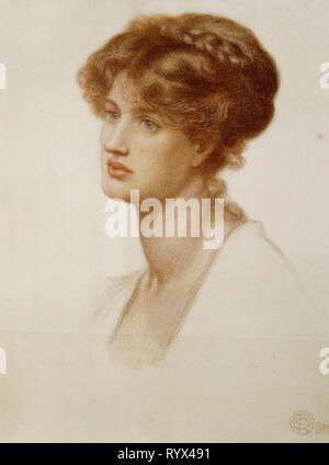 Portrait Of Mrs. William J. Stillman, Nee Marie Spartali, Bust Length.  Dante Gabriel Rossetti (1828-1882).  Coloured Chalk On Paper, 1869. - Stock Photo