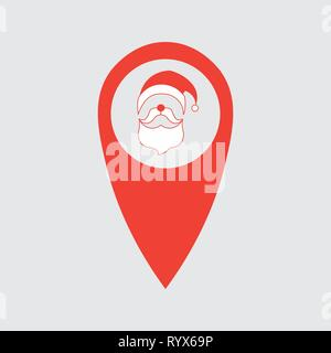 map pin locator - christmas Santa Claus theme vector art. location point with face Santa Claus 10 eps - Stock Photo