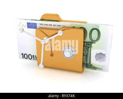 Computer icon for secure folder safe Pack Of 100 Euro Banknotes - Stock Photo