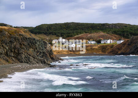 View of a raging ocean on the Atlantic Coast during a stormy and windy day. Taken in Crow Head, North Twillingate Island, Newfoundland and Labrador, C - Stock Photo