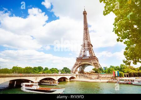 Boats, bridge Pont d'Iena and Eifel tower summer Paris, France - Stock Photo
