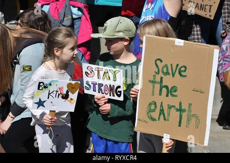 at the Global Climate Strike rally in Eugene, Oregon, USA. - Stock Photo