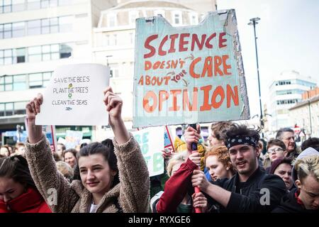 Sheffield, UK. 15th Mar, 2019. Students seen holding placards during the protest.Hundreds of students walk off their lessons as they head to the streets to demonstrate part of a global youth action over climate change. Credit: Ioannis Alexopoulos/SOPA Images/ZUMA Wire/Alamy Live News - Stock Photo