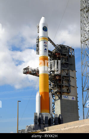 Cape Canaveral Air Force Station. Florida. USA. 15th March, 2019. The ULA Launch Readiness Review has been completed today and everything is progressing toward the ULA Delta IV launch carrying the WGS-10 mission for the U.S. Air Force. The mission is set to lift off on Friday, March 15 from Space Launch Complex-37 at Cape Canaveral Air Force Station in Florida. Today's forecast shows an 80 percent chance of favorable weather conditions for launch. The launch window begins at 6:56 p.m. ET and extends to 9:05 p.m. ET. Photo Credit Julian Leek / Alamy Live News - Stock Photo