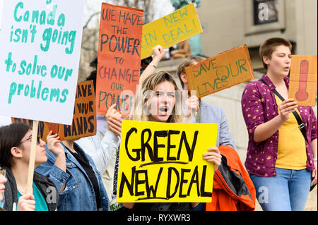 Demonstrators seen holding placards during the Climate Strike at Columbia University in New York City, NY. - Stock Photo