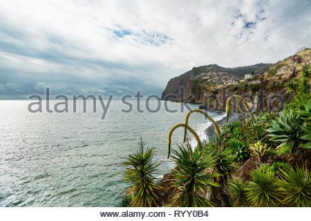 View along the coast of Madeira seen from Câmara de Lobos, with the cliffs of Cabo Girão in the distance. - Stock Photo