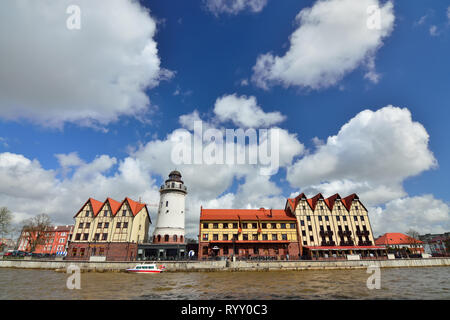 KALININGRAD, RUSSIA - 22 April 2017: Fishing village - the cultural and ethnographic complex, the tourist attraction of the city. Kaliningrad City Sym - Stock Photo