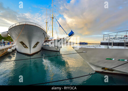 Boats, yachts, ships and ferries crowd the harbor on the Dalmatian Coast of the Adriatic Sea at the ancient port of Split, Croatia - Stock Photo