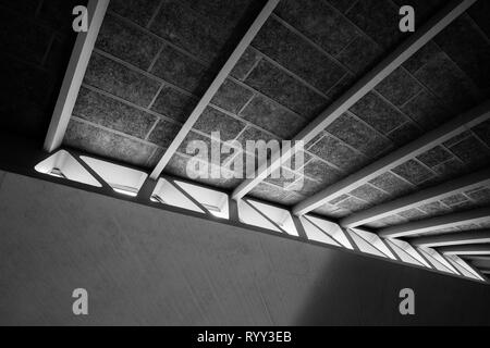 Architectural ceiling and window detail. Urban print, high contrast black and white, London - Stock Photo