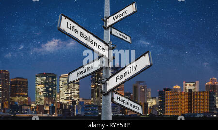 Life balance choices on signpost, with city at night backgrounds - Stock Photo