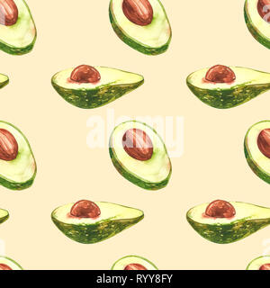 Avocado watercolor hand draw illustration isolated on white background. Seamless pattern of hand drawn avocado - Stock Photo