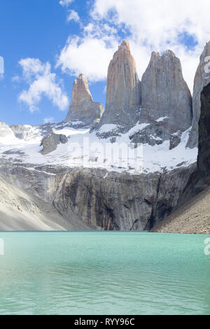 Base Las Torres viewpoint, Torres del Paine, Chile. Chilean Patagonia landscape. - Stock Photo