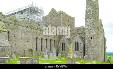 The view of the Rock of Cashel in Ireland the ruins of the old castle taken on a sunny day - Stock Photo