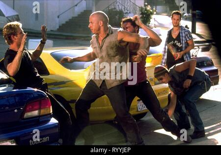 PAUL WALKER, VIN DIESEL, MATT SCHULZE, CHAD LINDBERG,JOHNNY STRONG, THE FAST AND THE FURIOUS, 2001 - Stock Photo
