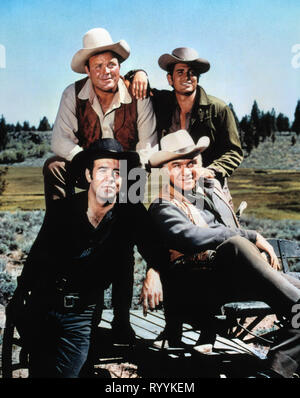DAN BLOCKER, MICHAEL LANDON, PERNELL ROBERTS,LORNE GREENE, BONANZA, 1959 - Stock Photo