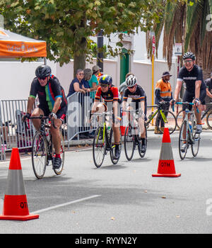 Cyclists racing in The Ring Summer Criterium Series, road bike races in Northbridge March 2019, Perth WA Australia. - Stock Photo