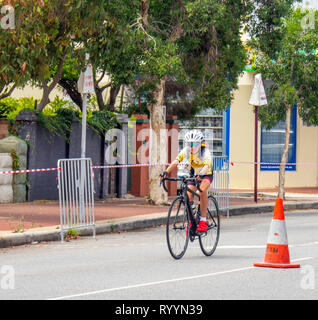 Cyclist racing in The Ring Summer Criterium Series, road bike races in Northbridge March 2019, Perth WA Australia. - Stock Photo
