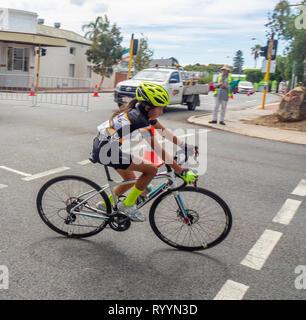 Cyclist racing in The Ring Summer Criterium Series, road bike races in Northbridge March 2019, Perth WA Australia. - Stock Photo