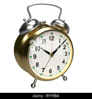 Alarm clock on white background. 3D rendering - Stock Photo