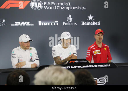 Melbourne, Victoria, Australia. 16th Mar, 2019. FIA Formula One World Championship 2019 - Formula One Rolex Australian Grand Prix.Qualifying for Race One of the 2019 FIA Formula One World Championship.Post Qualiying Press Confrence - Ist Place- No.44 Lewis Hamilton (UK ) Racing for Mercedes-AMG Petronas Motorsport driving his Mercedes WD10 2nd Place - No.77 Valtteri Bottas (Finland) Racing for Mercedes-AMG Petronas Motorsport driving his Mercedes WD10 - 3rd Place - No.5 Sebastian Vettel (Germany) Racing for Scuderia Ferrari driving his SF90 Ferrari. Credit: brett keating/Alamy Live News - Stock Photo