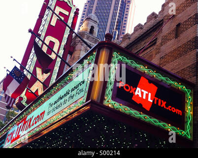 The historic Fox Theatre, a performing arts venue on Peachtree Street in the heart of Atlanta, Georgia, is a beloved - Stock Photo