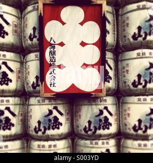Japanese sake barrels in front of Kabuki-za theatre in Ginza, Tokyo, Japan - Stock Photo