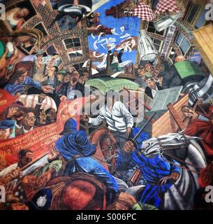 Mural commemorating the Battle of Cable Street, London - Stock Photo
