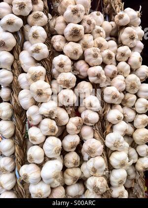Hanging wreaths of garlic - Stock Photo