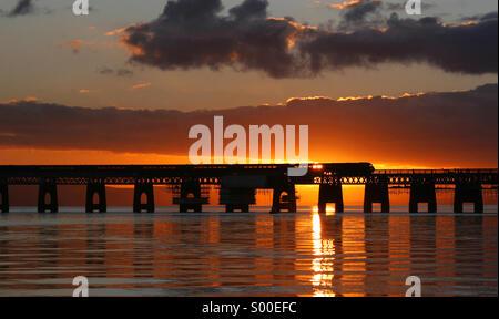 The Tay Rail Bridge at sunset, Dundee, Scotland. - Stock Photo
