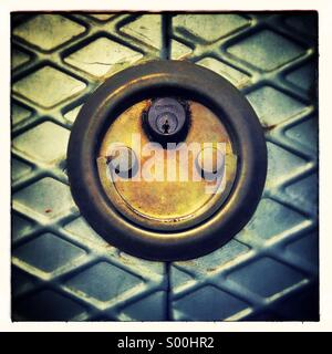 Door lock padlock smiling. Faces in objects - Stock Photo