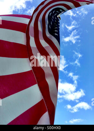 American flag in a summer breeze. - Stock Photo