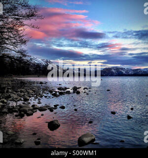 Sunset over Ullswater in the Lake District - Stock Photo