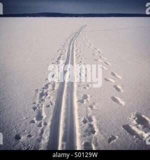 A ski track over a frozen lake near Kajaani in Finland - Stock Photo