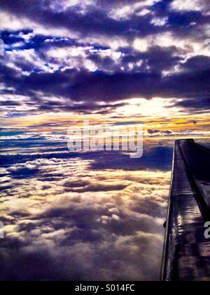 Sunset from Flight - Stock Photo
